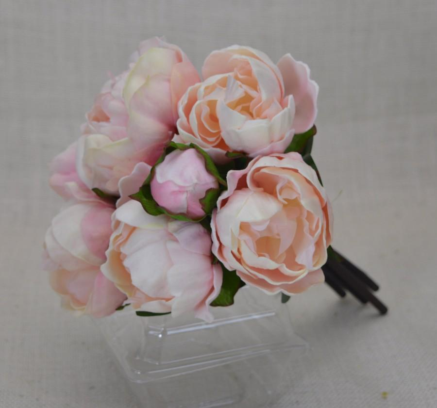 Hochzeit - Blush Pink, Cream Real Touch Flowers Peony Bouquets for Wedding Bridal Bouquets Centerpieces Home Decoration