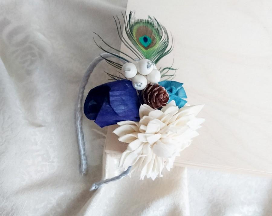 Свадьба - Sola flowers pine cone peacock feather headband dark blue turquoise ivory bride bridesmaid Corsage winter wonderland woodland wedding
