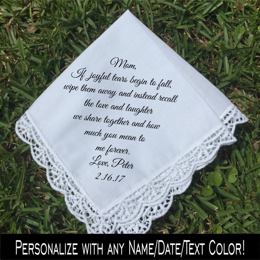 Свадьба - Mother of the Groom gift, Mother of the Bride handkerchief, PRINTED handkerchief, wedding keepsake idea mother of groom handkerchief (H 009)