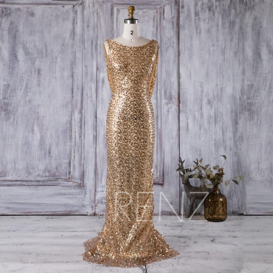 Cowl Back Bridesmaid Dress: 2016 Gold Bridesmaid Dress, Scoop Neck Luxury Sequin