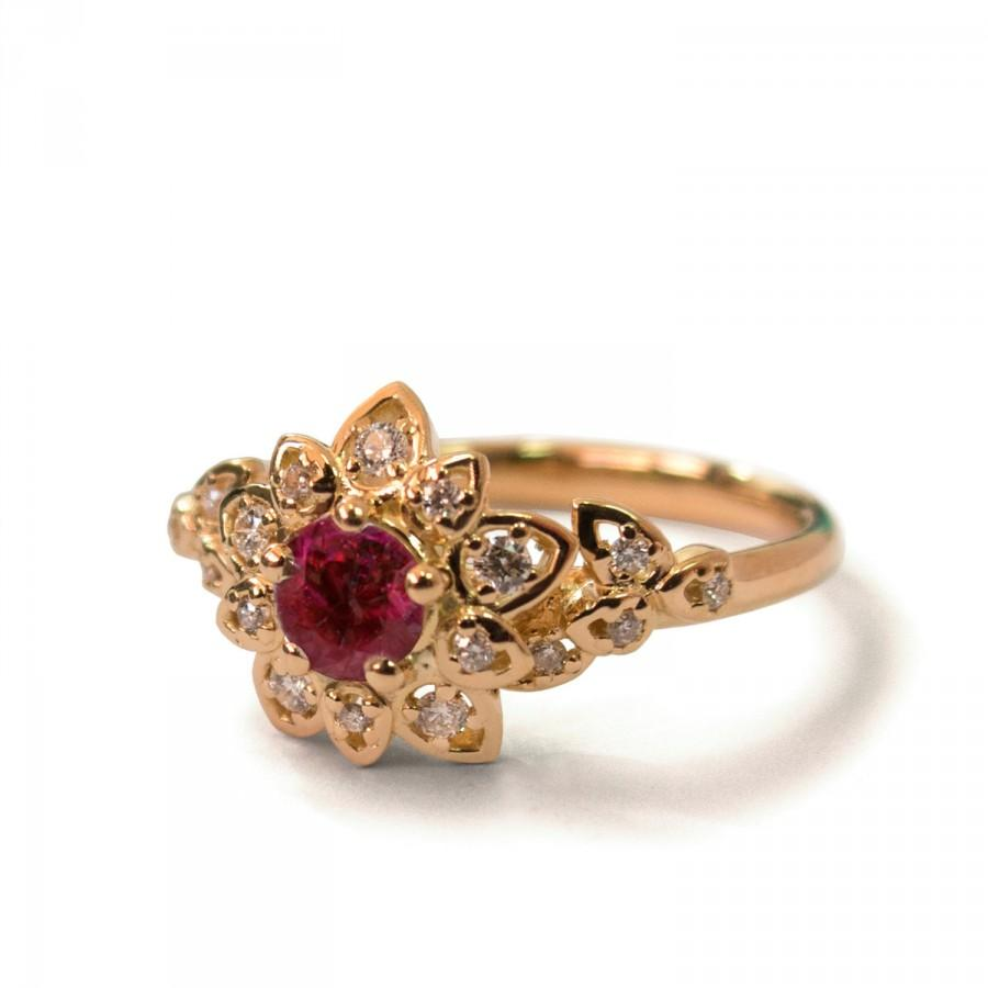 Свадьба - Ruby Art Deco Petal Engagement Ring - 14K Rose Gold and Ruby engagement ring, leaf ring, flower ring,vintage,halo ring, Ruby and Diamonds,2B