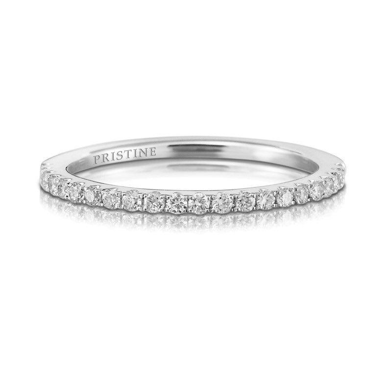 زفاف - Diamond Wedding Band Round Diamonds .21ct French Pave Set 18k White Gold Diamond Band Wedding Band Anniversary Band Wedding Ring