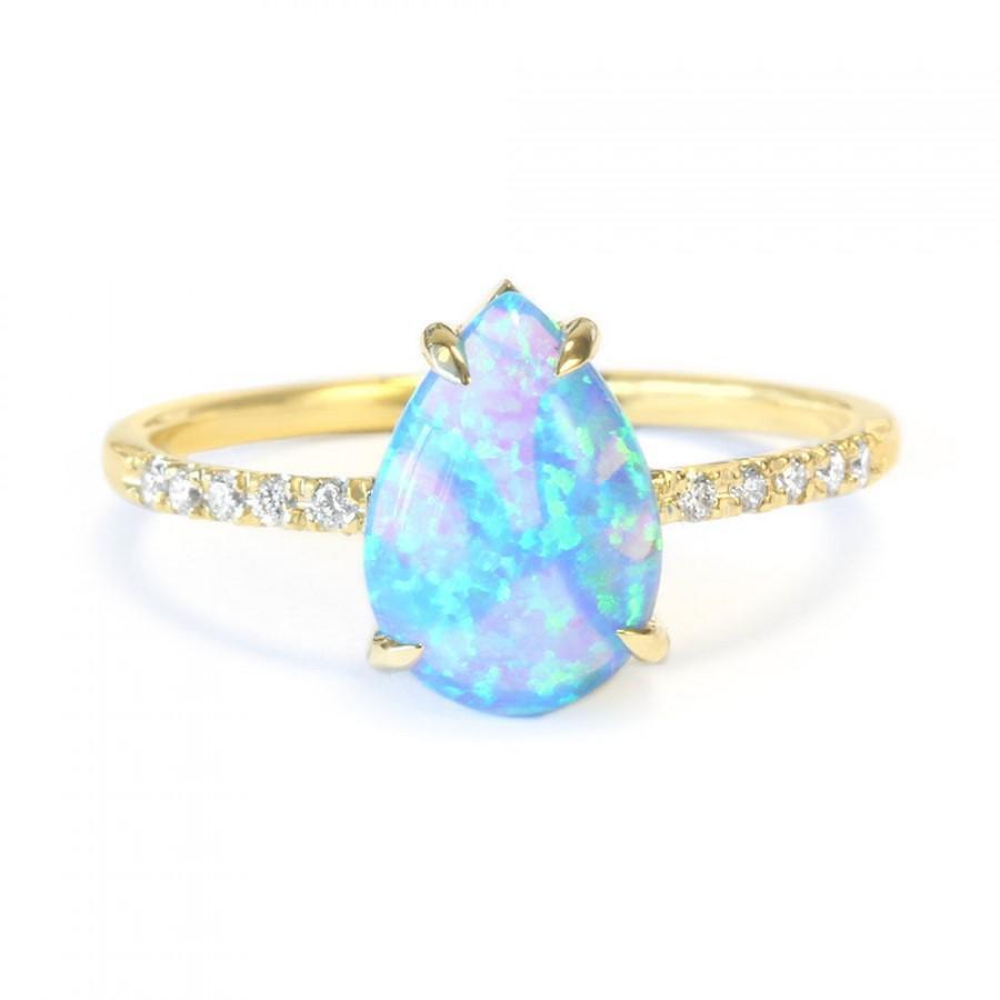 زفاف - Pear Shaped Opal Diamond Engagement Ring, 14K Rose, Halo Ring, Unique Engagement Ring, Delicate Ring