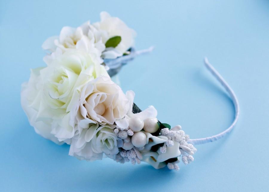 Nozze - wedding flower crown, bridal crown, floral crown, white roses crown, bridal flower crown, bridal headpiece, handmade, Three Snails