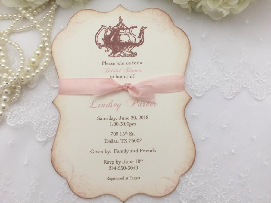 Bridal Shower Tea Party Invitations Blush Set Of 10 Engagement ...