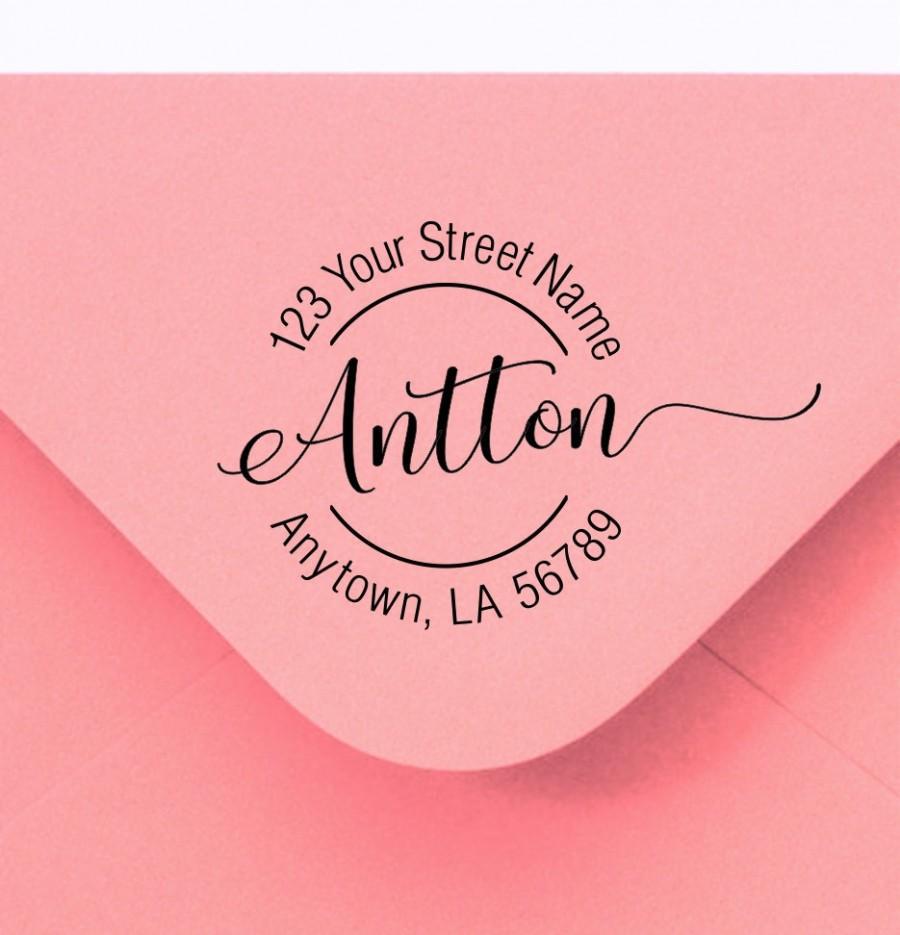 زفاف - Personalized Self Inking Return Address Stamp - self inking address stamp - Custom Rubber Stamp R350