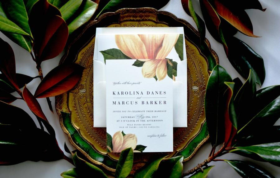 Hochzeit - KAROLINA SUITE // Magnolia Wedding Invitation, Botanical, Magnolia Flower, Southern Wedding, Plantation, Garden, Outdoor, Vintage, Classic