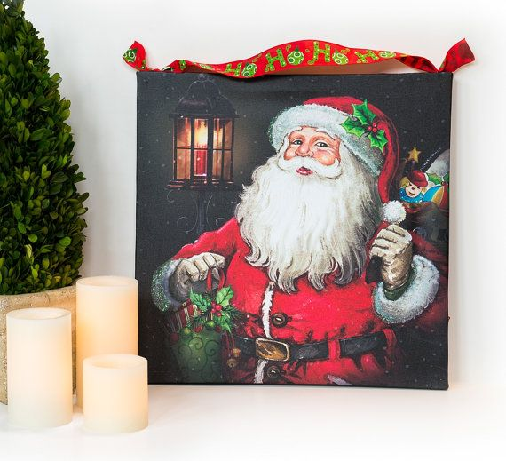 Mariage - Christmas Lighted Canvas Decoration with Santa Claus
