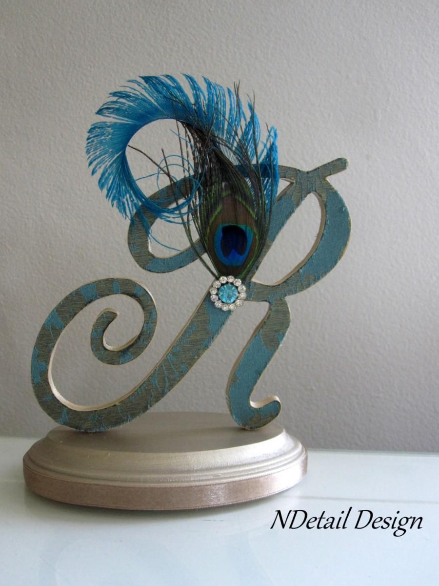 Mariage - Gatsby Wedding Topper, Custom Monogram R Topper, Teal Letter Cake Topper, Peacock Cake Topper, Feather Cake Topper, Art Deco Cake Topper