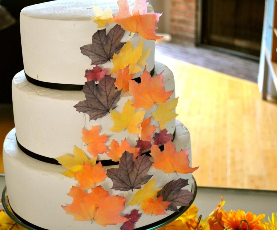 Mariage - Wedding Cake Topper EDIBLE Fall Leaves - Assorted set of 32 -Cake & Cupcake toppers - Food Accessories