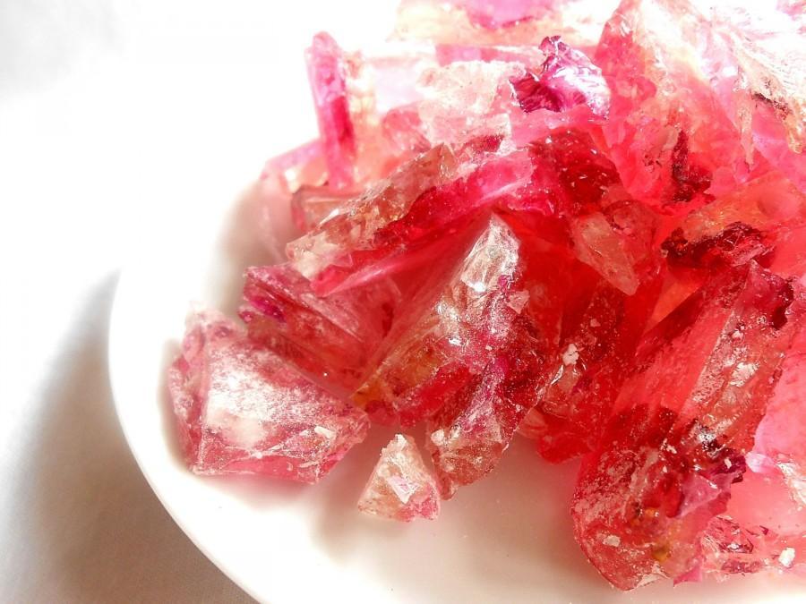 Wedding - Organic Rose Petals in Pink Champagne Hard Rock Sugar Candy Favors Cake Decoration