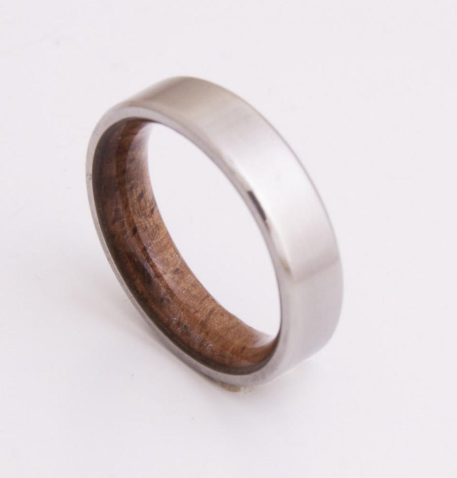 Mariage - Titanium and Koa wood // Mens Wood Rings //wood Wedding Band //Men's wedding Band // beveled edge
