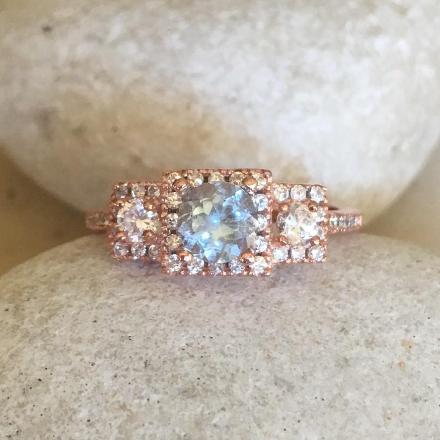 Wedding - Aquamarine Rose Gold Ring- Art Deco Gatsby Ring- Old World Charm Promise Ring for Her- Bridal Wedding Ring- Three Stone Anniversary Ring