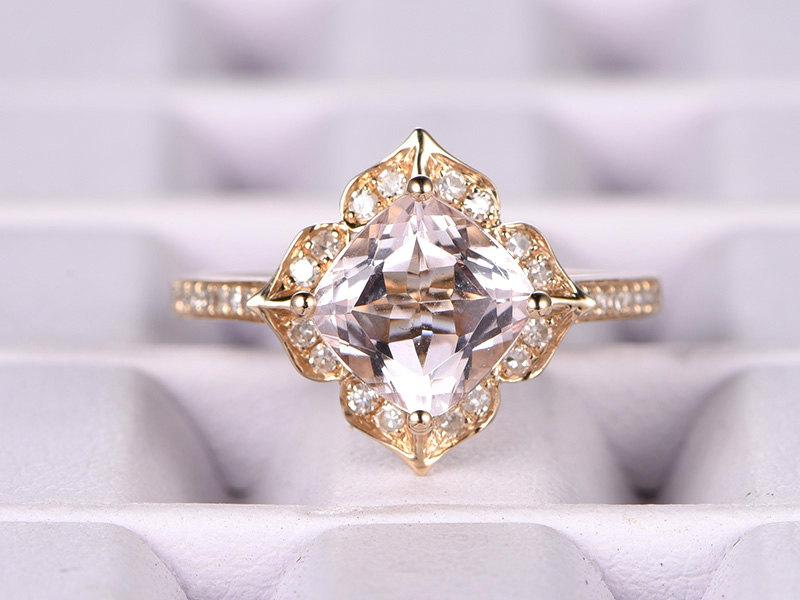 7mm Cushion Morganite Engagement Ring Yellow Gold Diamond Wedding