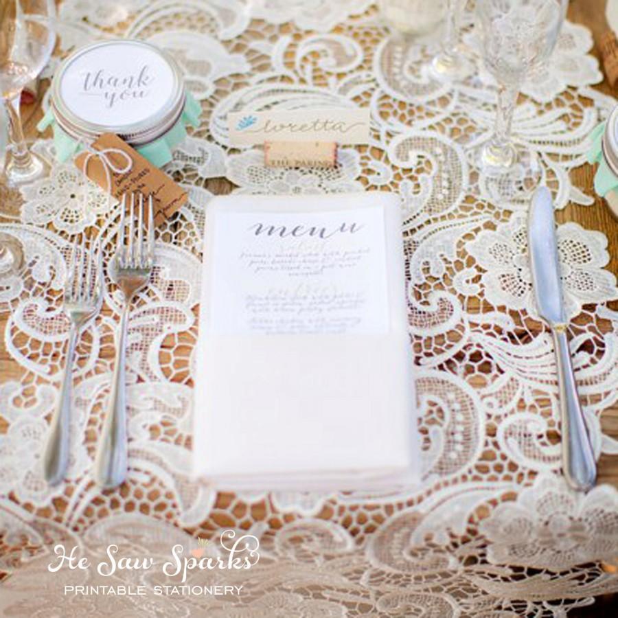 Mariage - Printable Wedding Menu Card - Calligraphy