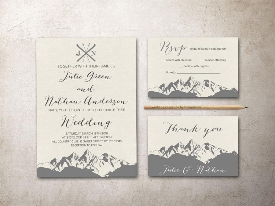 mountain wedding invitation printable winter wedding invitation