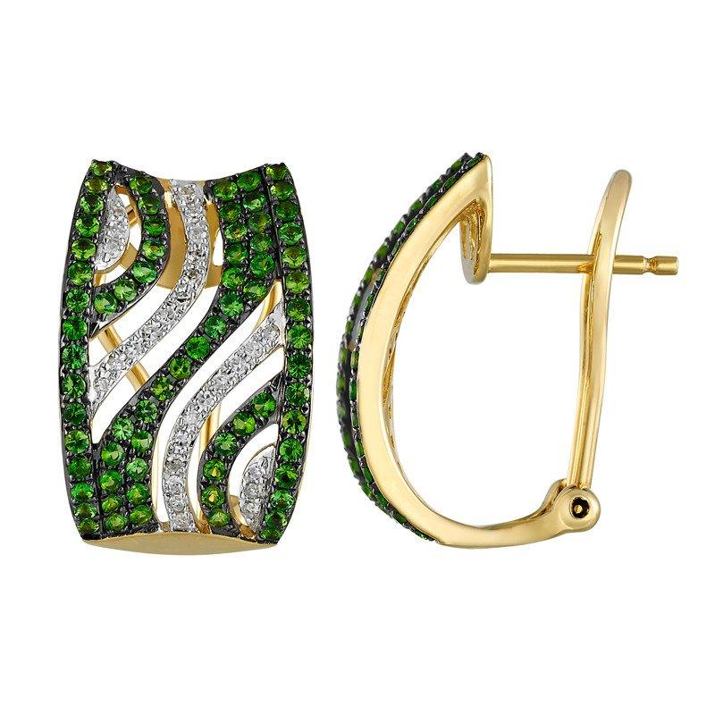 Tsavorite Garnet Diamond Earrings 14k Yellow Gold Christmas Gifts For Women High End Jewelry