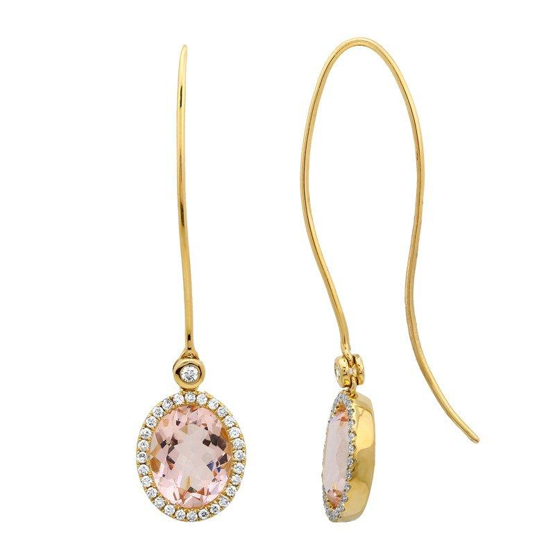 Wedding - 4 Carat Morganite & Diamond Earrings 14k Yellow Gold, Anniversary Gifts, Wedding Jewelry