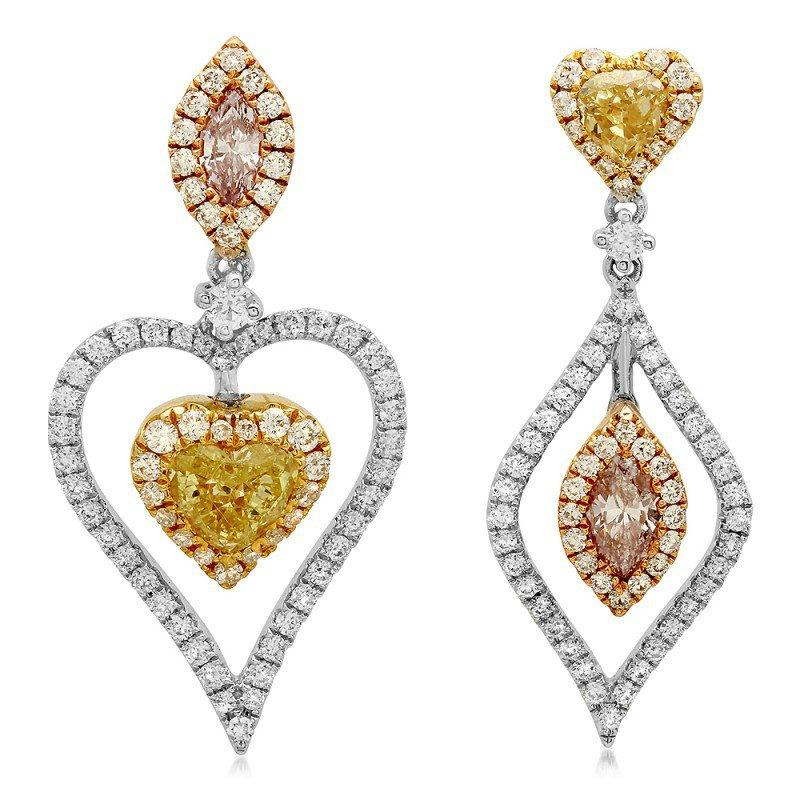 Boda - Pink Diamond & Yellow Diamond Mismatch Earrings (1.84 ctw), Heart Yellow Diamond, Marquise Pink Diamond Earrings