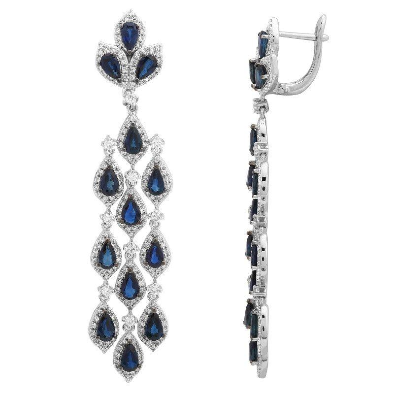 Red Diamond Chandelier Earrings: Sapphire & Diamond Chandelier Earrings 14k White Gold