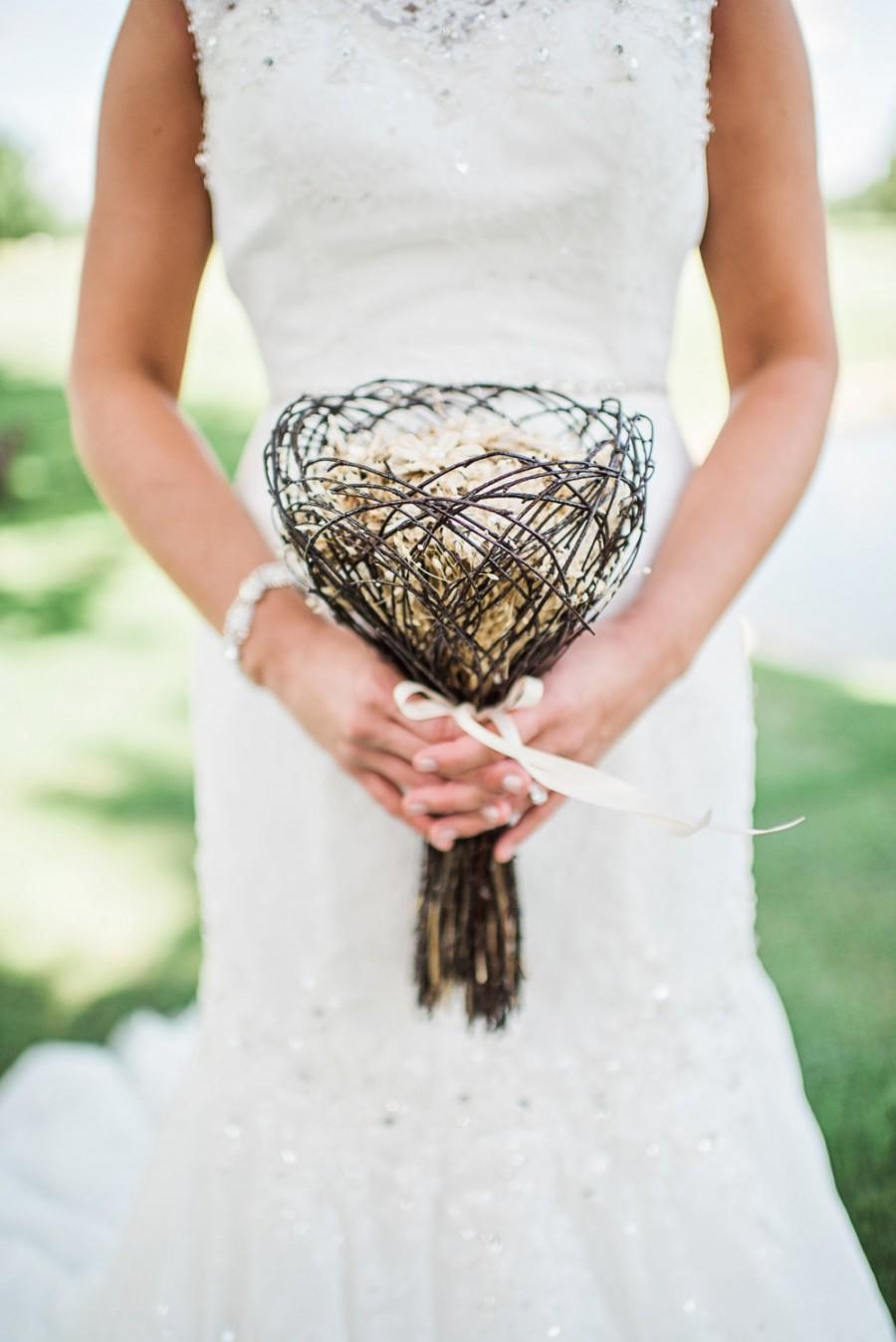 Hochzeit - Bridal Bouquet, Gift Bouquet - Pine Forest Glade Love Nest - Birch, Lapsana & Pinecone Daisies