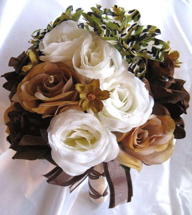 """Hochzeit - Wedding Bouquet Bridal Silk flowers CAMOUFLAGE BROWN CREAM Camo 17pc Package Free shipping centerpiece """" Roses and Dreams"""""""