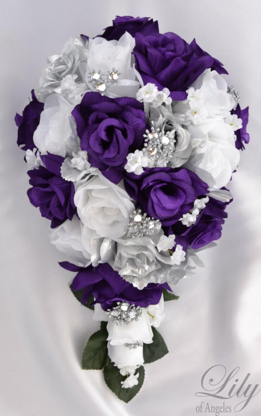 17 piece package bridal bouquet wedding bouquets silk flowers bride 17 piece package bridal bouquet wedding bouquets silk flowers bride cascade teardrop purple silver white jewels lily of angeles pusi01 junglespirit Image collections