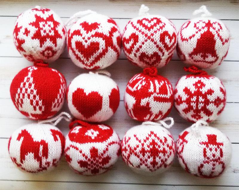 Christmas Gifts Knit Balls 12 Pcs Tree Decorations Ornaments Decor