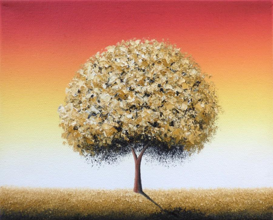 Contemporary Tree Art Print Of Gold Tree Painting Modern