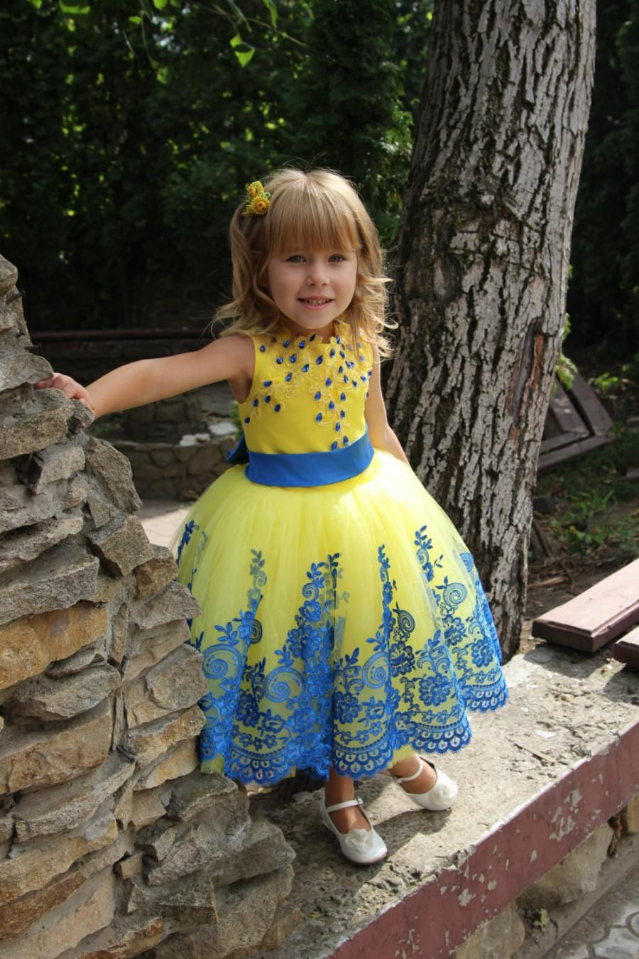 Lace Blue Yellow Flower Girl Dress Birthday Wedding Party Holiday