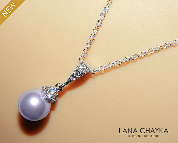 Wedding - Lavender Drop Pearl Necklace Light Violet Pearl Small Necklace Swarovski 8mm Pearl Sterling Silver Wedding Necklace Lavender Pearl Jewelry
