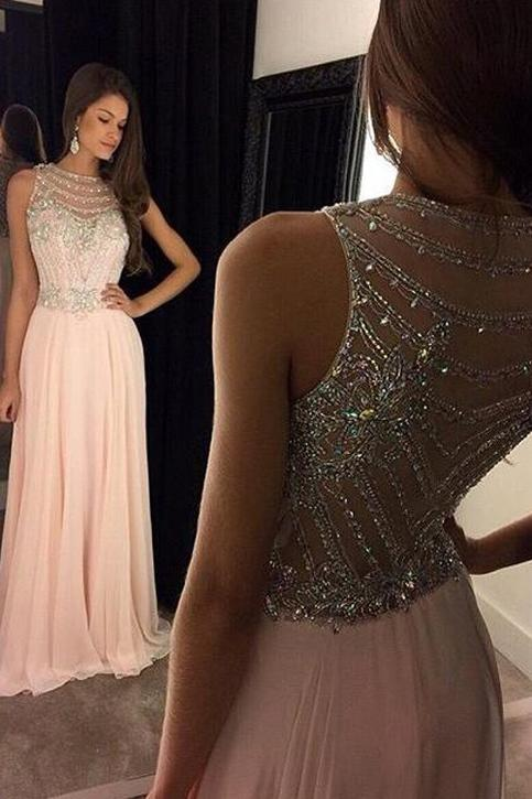 Mariage - Sexy Sleeveless Pink Long Prom Dress With Crystal from Tidetell