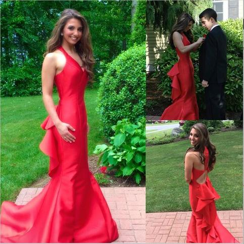 Mariage - Gorgeous Mermaid Red Prom/Evening Dress with Cascading Ruffles from Tidetell