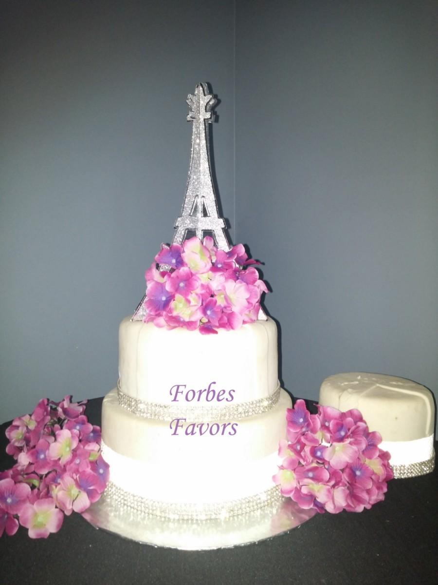 10 Inch Sparkling Silver Paper Eiffel Tower Paris Theme Wedding Cake