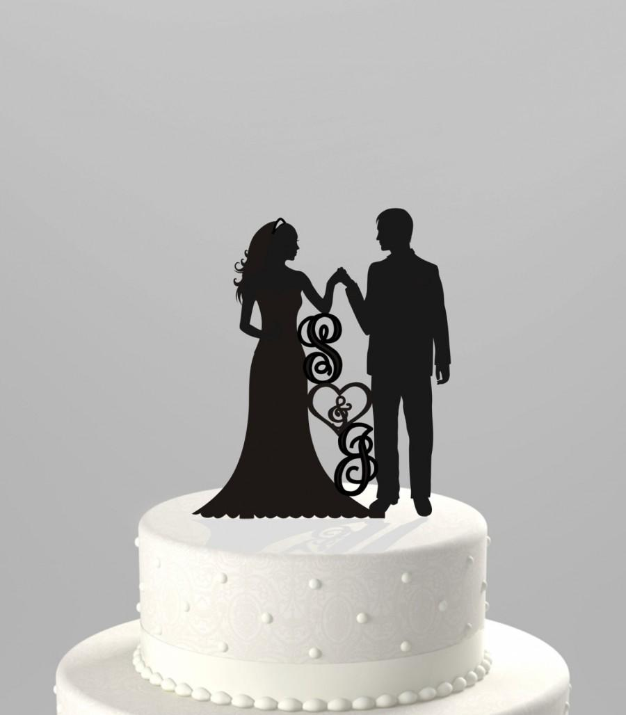 Hochzeit - Wedding Cake Topper Silhouette Groom and Bride Hand in Hand, Personized with your Initials,  Acrylic Cake Topper [CT83i]