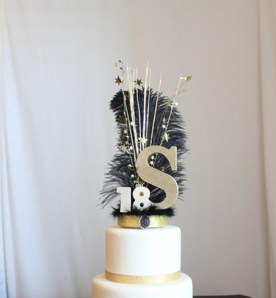 Wedding - Gatsby black and gold Initial or Letter and Number feather cake topper, Ostrich Feather, Roaring 20s, overthetopcaketopper