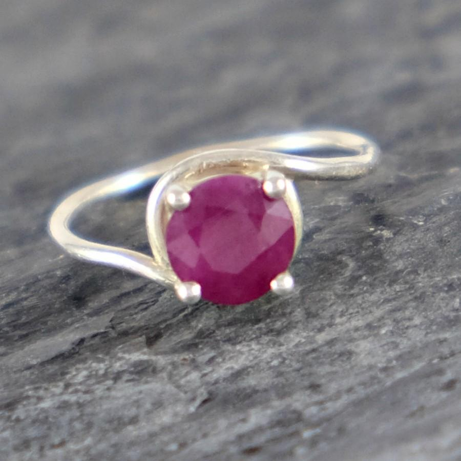 Mariage - Ruby Engagement Ring Opaque Ruby Ring, Sterling Silver Ring Ruby Jewelry Romantic Gift For Her Red Gemstone Ring Natural African Ruby Ring