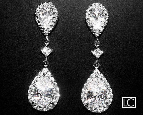 Hochzeit - Cubic Zirconia Bridal Earrings Silver CZ Wedding Earrings Clear Cubic Zirconia Teardrop Dangle Earrings Wedding Earrings Bridal CZ Jewelry