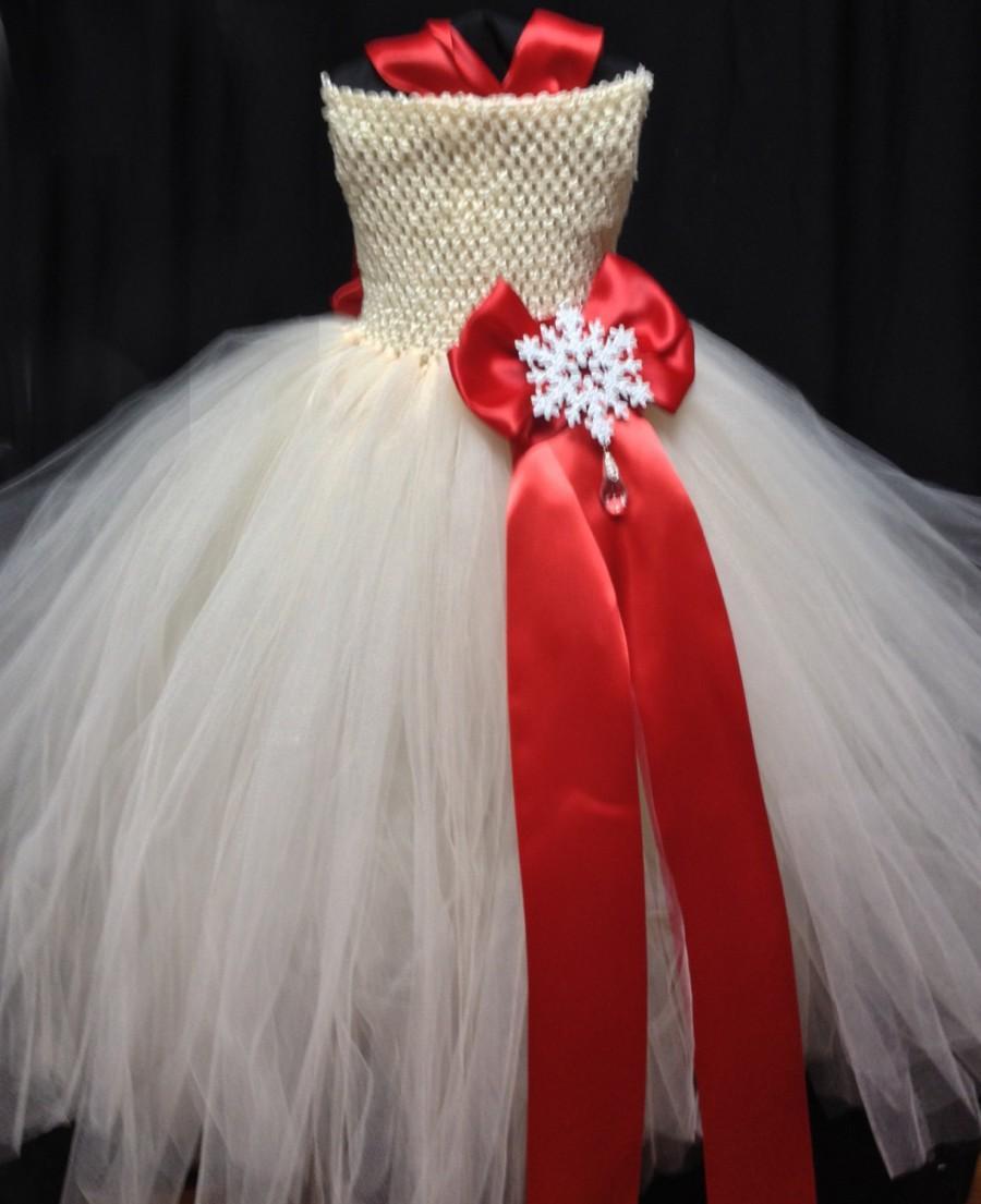 زفاف - Ivory Red Flower Girl Dress Tutu