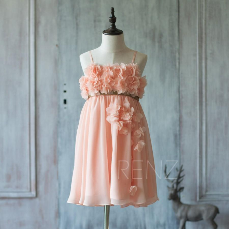 2016 Peach Junior Bridesmaid Dress, Spaghetti Strap Flower Girl ...