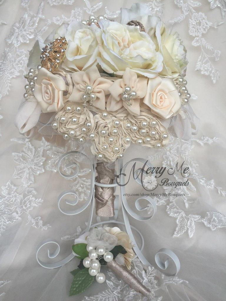 Rose Gold Bouquet Rose Gold Brooch Bouquet Cream And Ivory