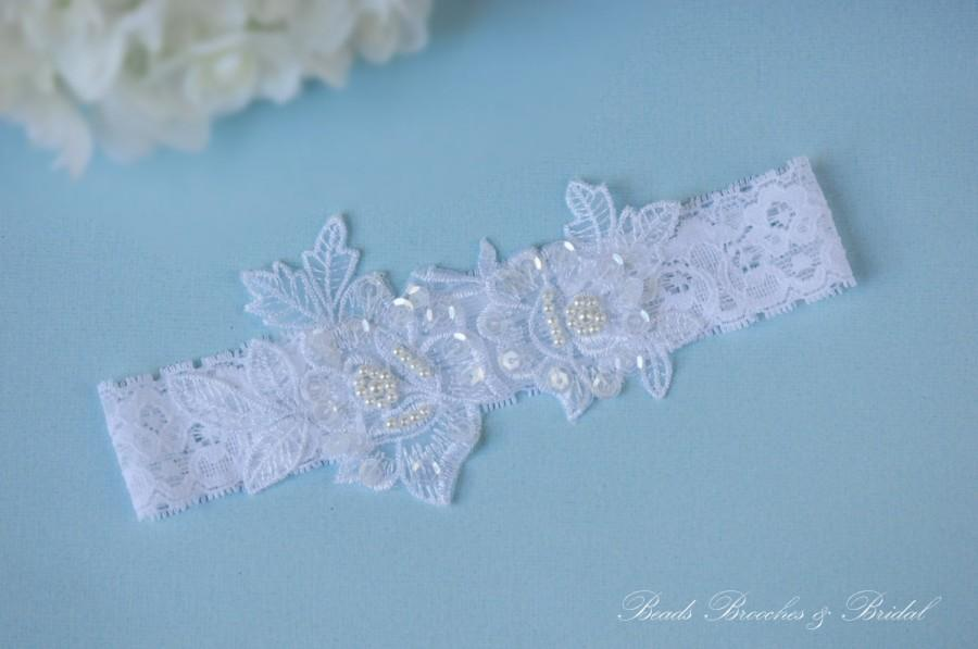 Hochzeit - Garter,Wedding Garter,White Lace Gorgeous Rose-Pearl Applique,Pearls and  Sequins Embroidered Flower Lace Wedding Garter,Bridal Accessory