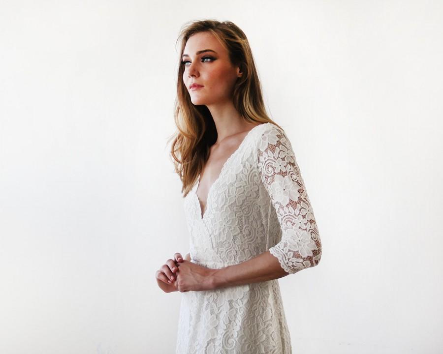 زفاف - Ivory long sleeves lace wedding gown, Lace bridal gown, Ivory lace wedding empire dress 1124