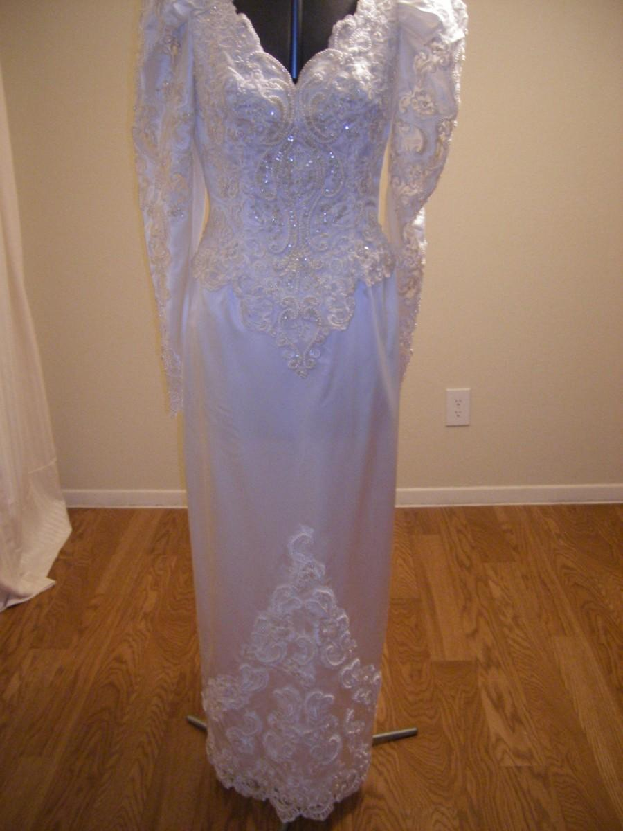 Mariage - White Satin Sheath Gown  Full detachable train Long sleeve, heavily beaded with Pearls and sequins,