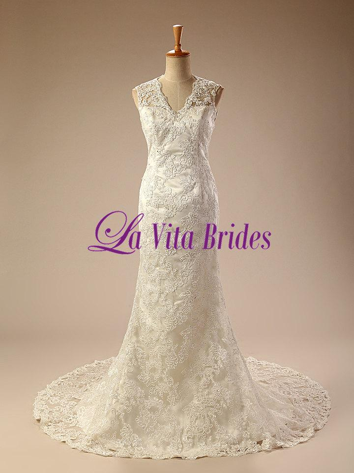 زفاف - V neck full lace column wedding dress with cut out back