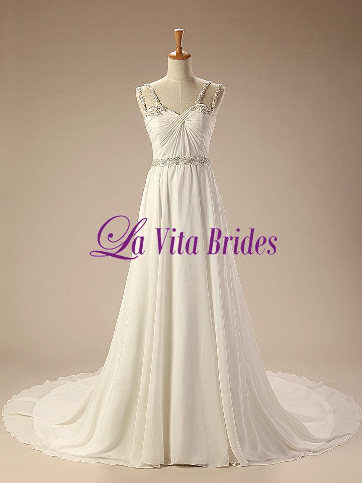 زفاف - Spaghetti lace straps chiffon wedding dress with crystal sash