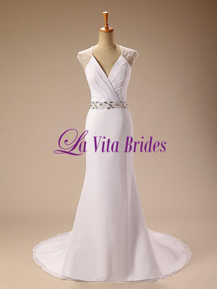 Свадьба - V neck chiffon cap sleeves lace back mermaid wedding dress with beaded waist