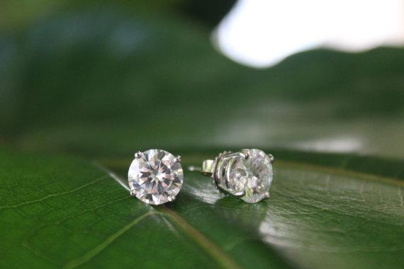 Свадьба - Raven FIne Jewelers - 4 Carat Forever One Moissanite Stud Earrings 14k - 8mm Studs, Anniversary Gifts, Stud Earrings for Women - 2 carat Each - Gift Ideas for Her