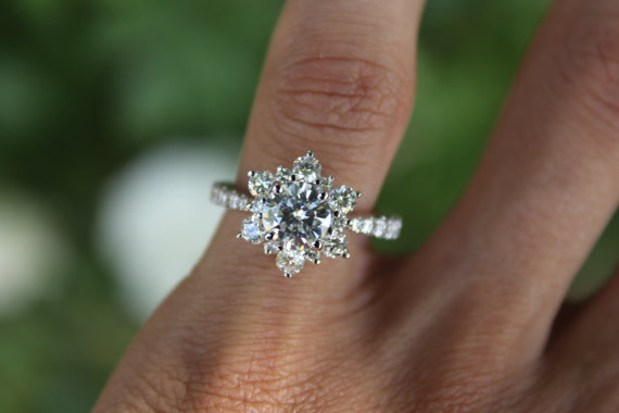 1b4bcb8cb33 1 Carat Forever One Moissanite & Diamond Flower Lotus Halo ...