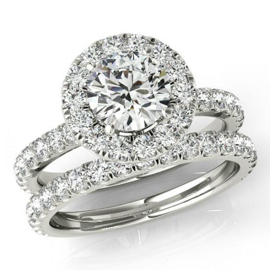زفاف - 1.50 ct Forever One Moissanite and Diamond Wedding Set - Bridal Set - Sets for Women - Engagement Rings - Moissanite Wedding Sets